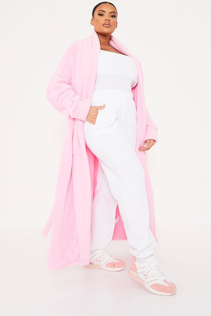 Pink Plus Borg Longline Dressing Gown view 3