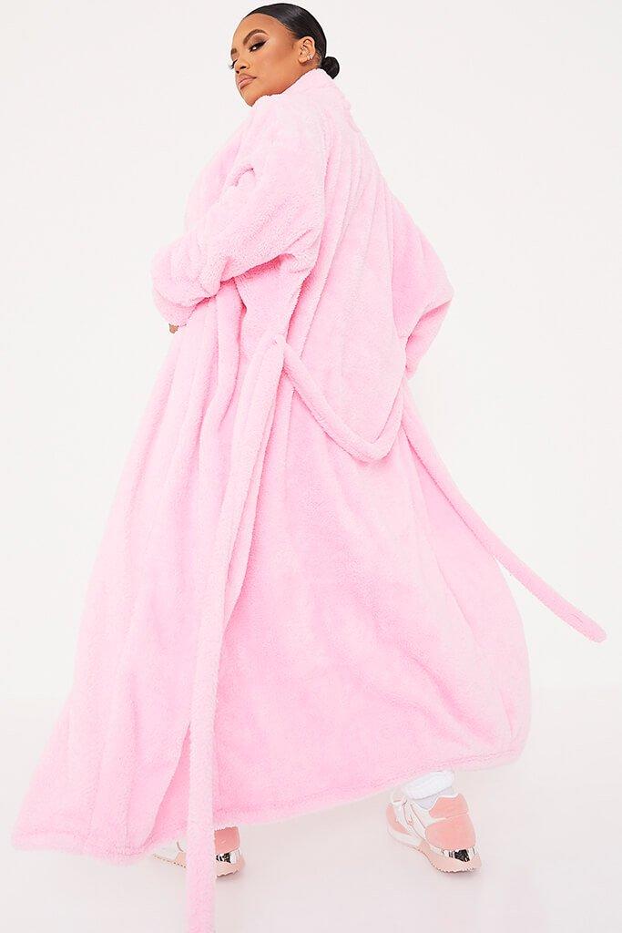 Pink Plus Borg Longline Dressing Gown view 4