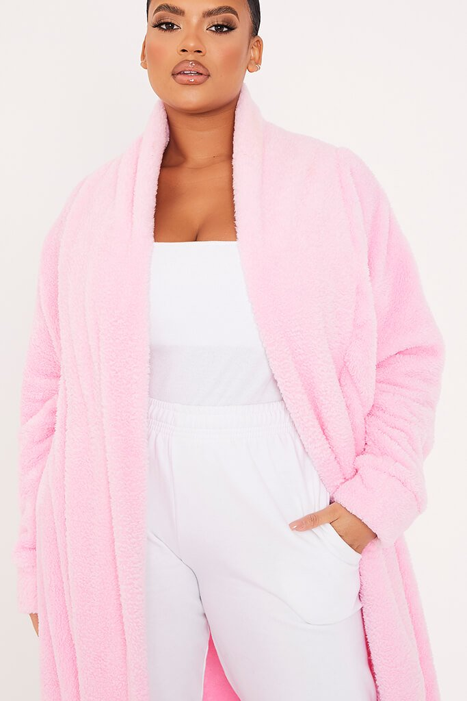 Pink Plus Borg Longline Dressing Gown view 5