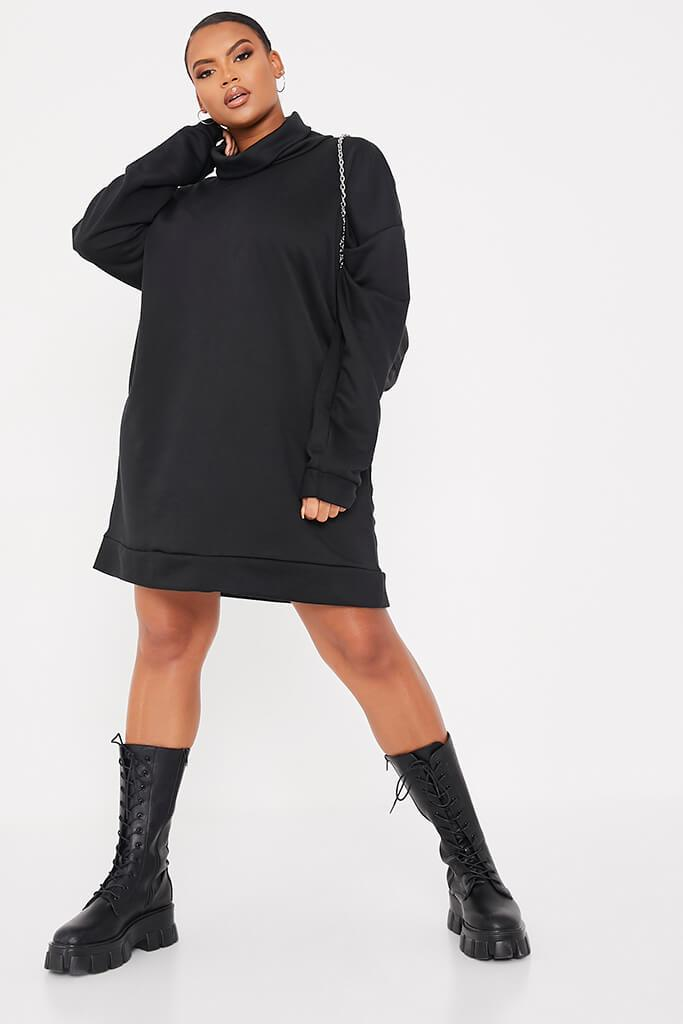 Black Plus Size Sweat Funnel Neck Dress
