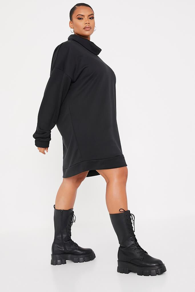 Black Plus Size Sweat Funnel Neck Dress view 3