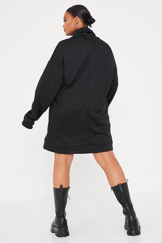 Black Plus Size Sweat Funnel Neck Dress view 4