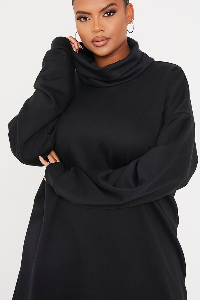Black Plus Size Sweat Funnel Neck Dress view 5