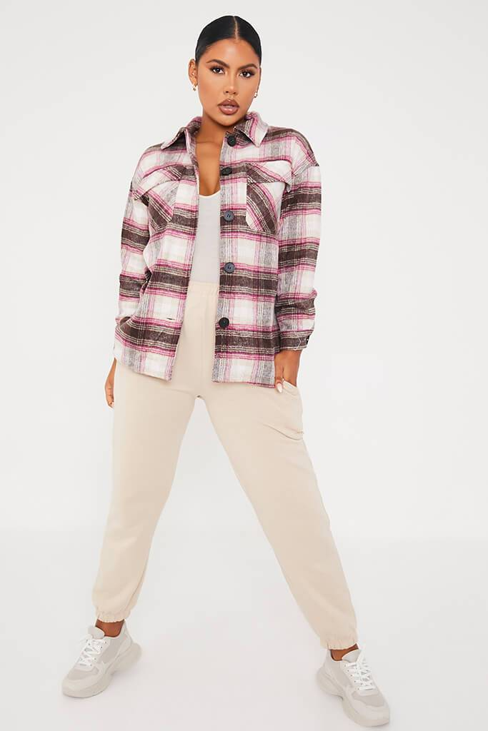 Pink Check Shacket view 2