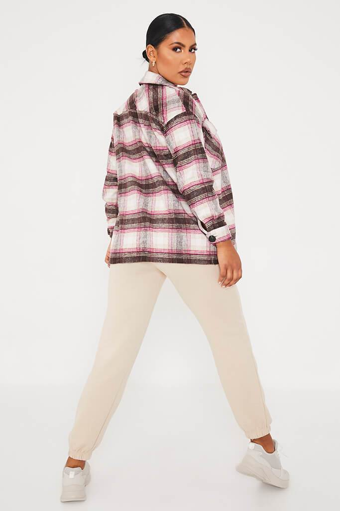 Pink Check Shacket view 4