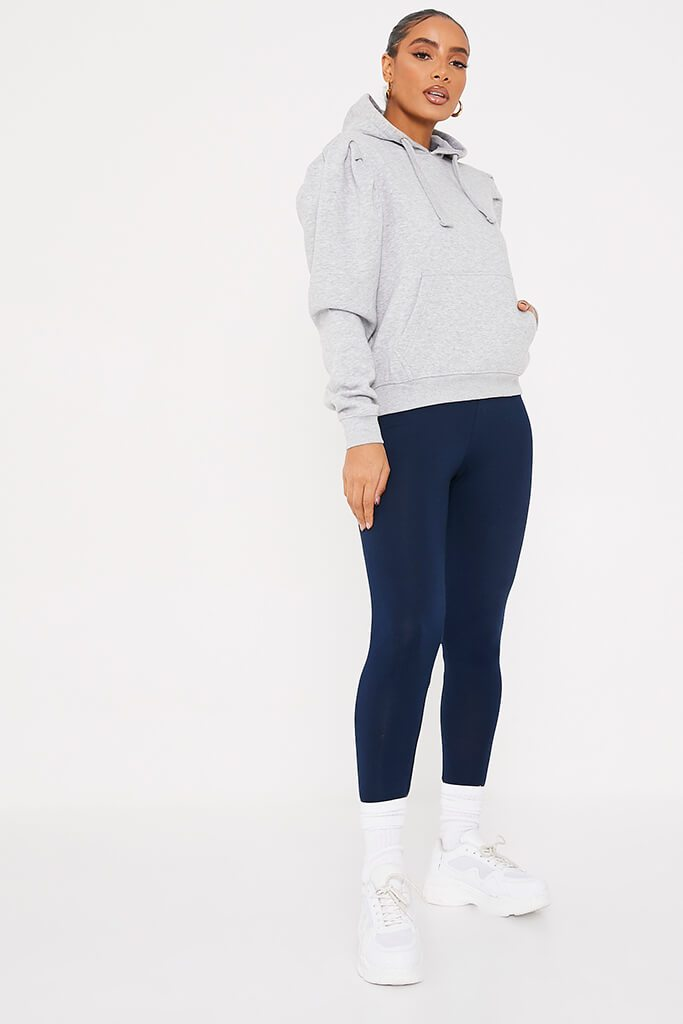 Navy High Waisted Leggings view 3