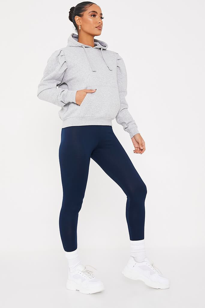 Navy High Waisted Leggings view main view