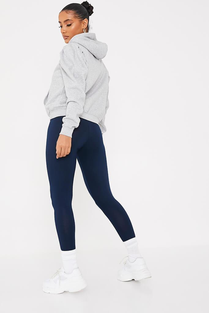 Navy High Waisted Leggings view 4