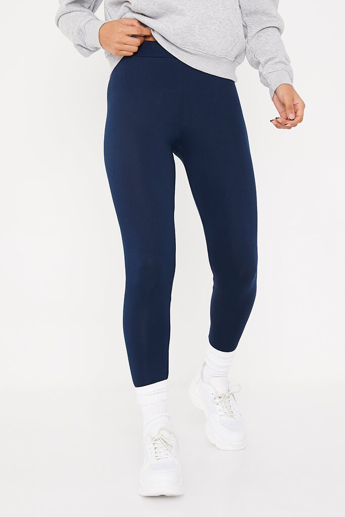 Navy High Waisted Leggings view 2