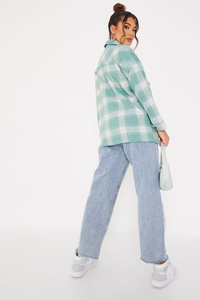 Sage Double Pocket Check Shacket view 4