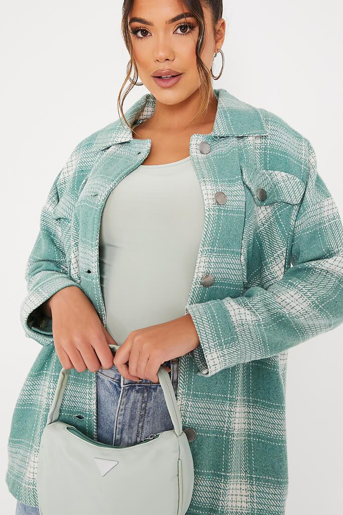 Sage Double Pocket Check Shacket view 5