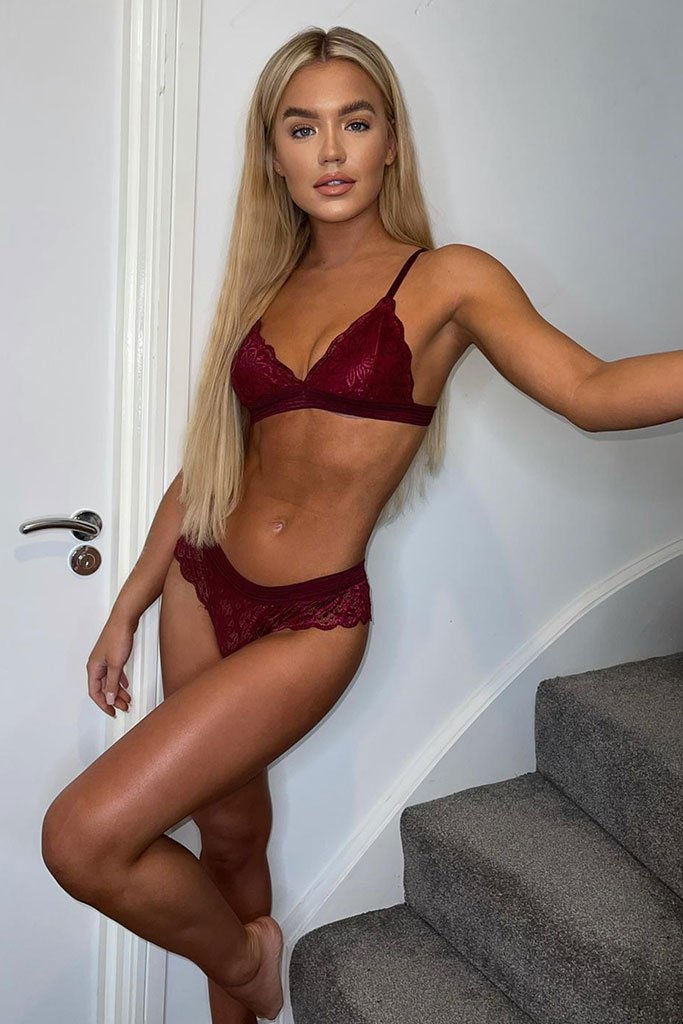 Burgundy Lace And Stripe Mesh Lingerie Set view 2