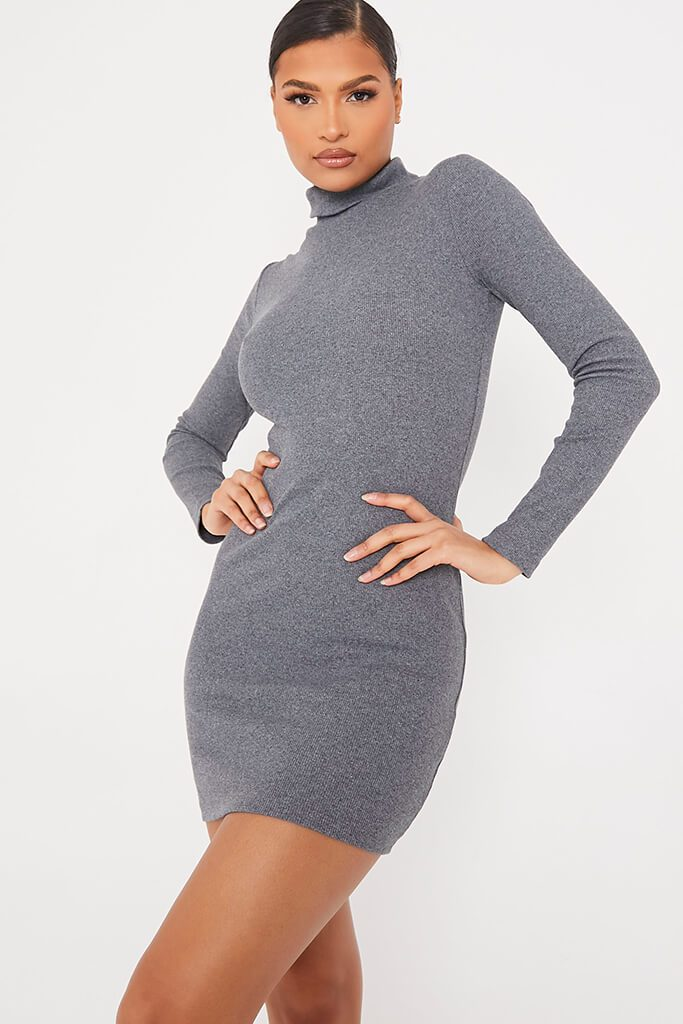 Charcoal Rib Roll Neck Long Sleeve Bodycon Dress