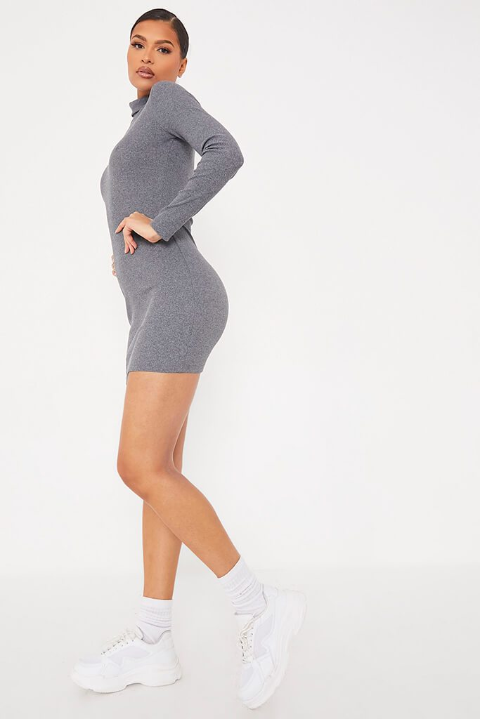 Charcoal Rib Roll Neck Long Sleeve Bodycon Dress view 3