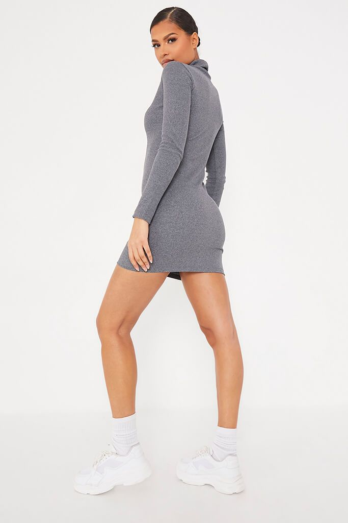 Charcoal Rib Roll Neck Long Sleeve Bodycon Dress view 4