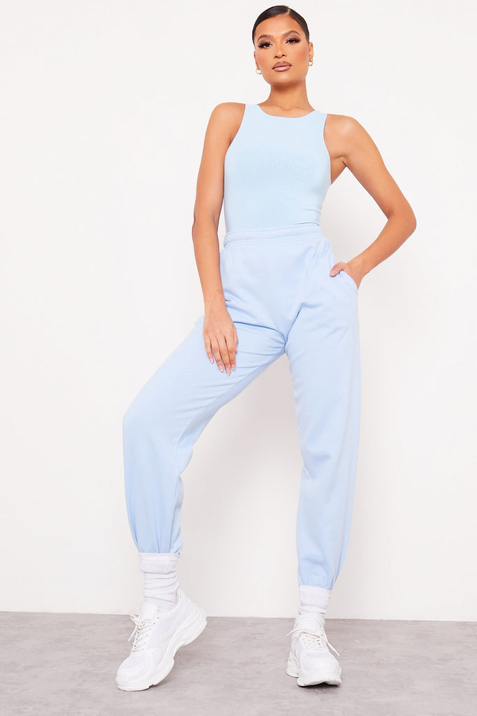 Light Blue Double Layer Slinky Racer Neck Bodysuit view 2