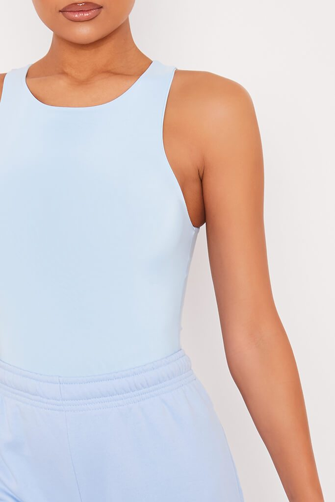 Light Blue Double Layer Slinky Racer Neck Bodysuit view 5
