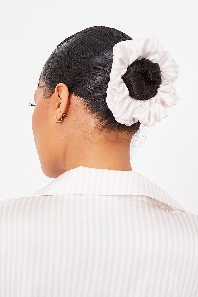 Beige Stripe Satin Scrunchie view main view