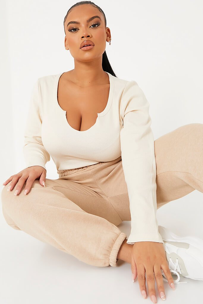 Nude Plus Basic Cotton Rib Notch Front Long Sleeved Crop Top