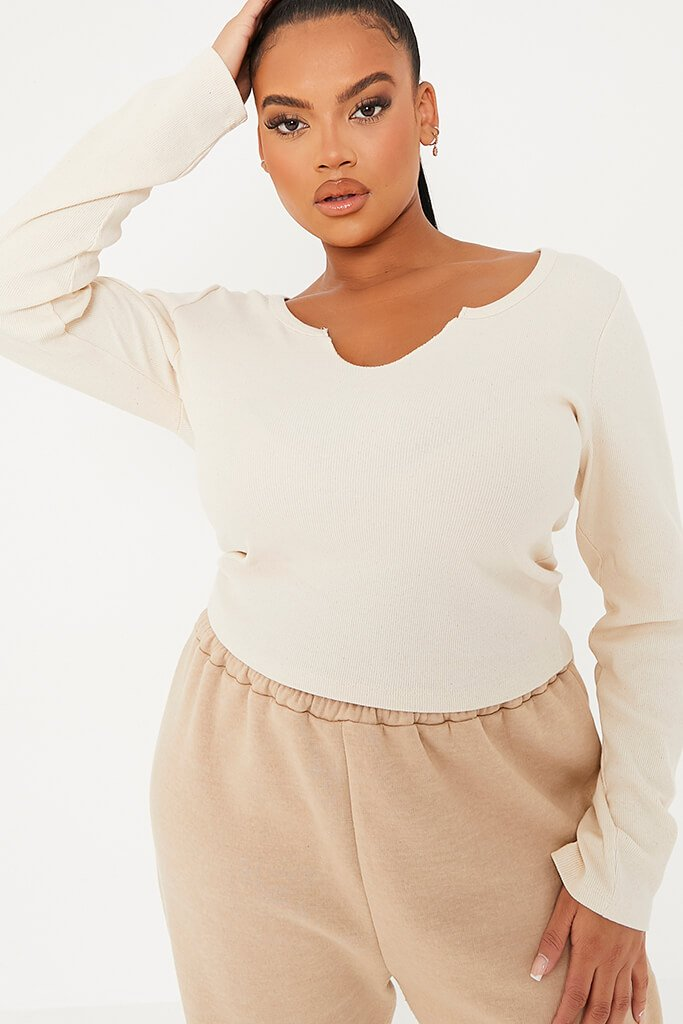 Nude Plus Basic Cotton Rib Notch Front Long Sleeved Crop Top view 5