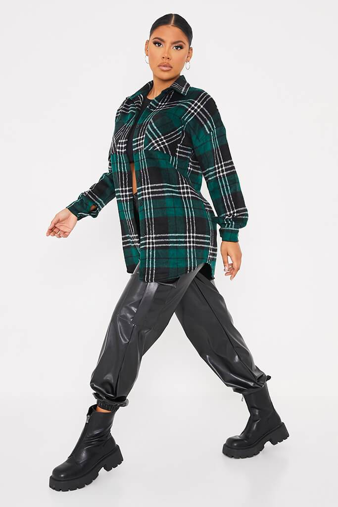 Green Oversized Check Shacket view 3