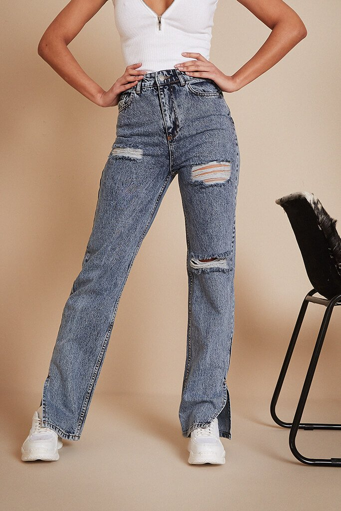 Vintage Wash Ripped And Bum Distress Split Hem Jean view 2