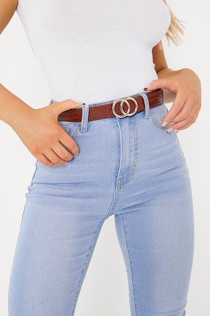 Chocolate Croc Print Double Ring Belt