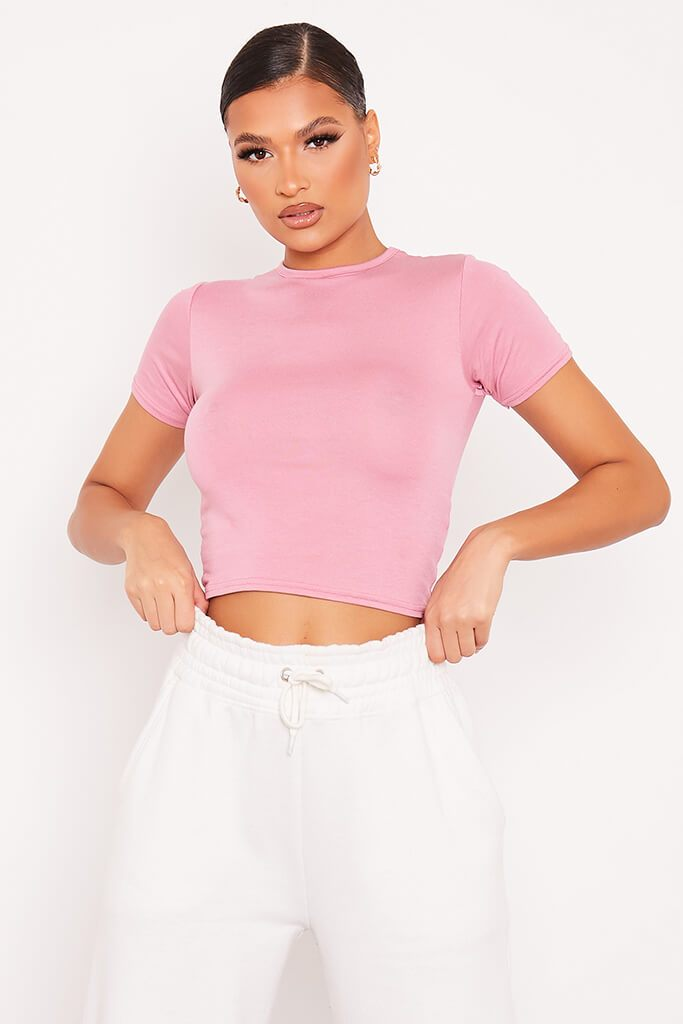 Rose Fitted Crop T-Shirt