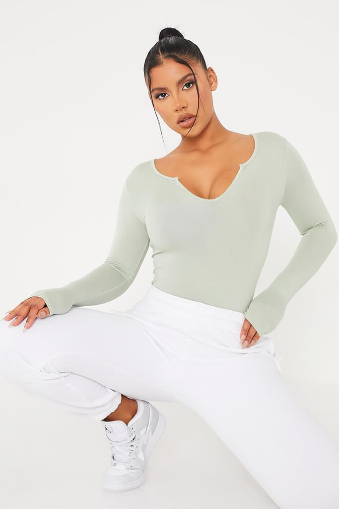 Sage Notch Front Long Sleeve Bodysuit view main view