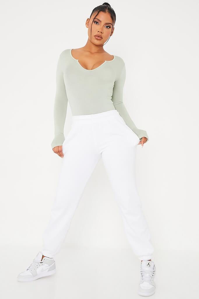 Sage Notch Front Long Sleeve Bodysuit view 3