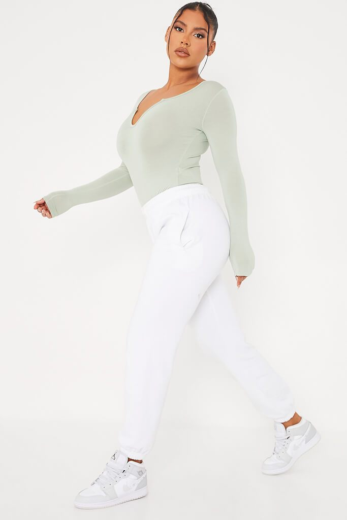 Sage Notch Front Long Sleeve Bodysuit view 4