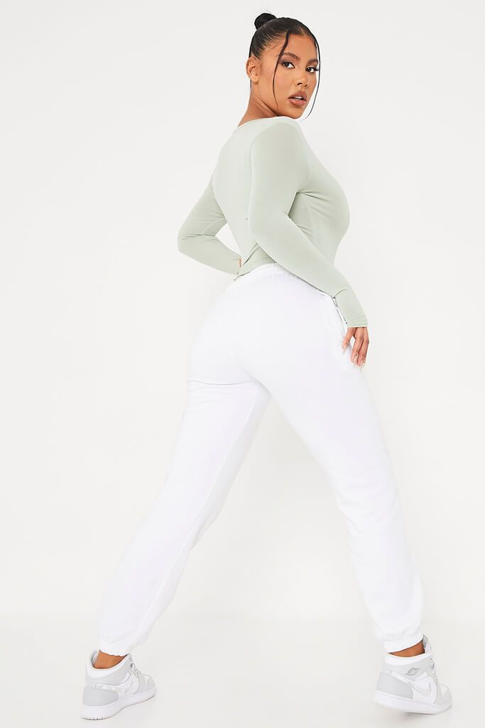 Sage Notch Front Long Sleeve Bodysuit view 5
