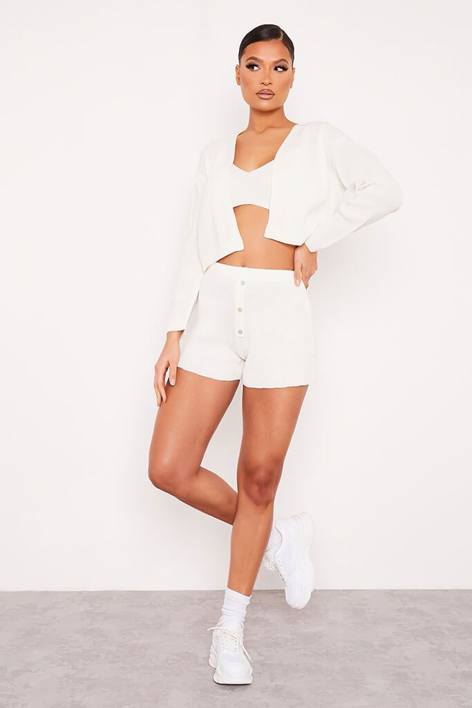 Cream Fine Knitted Shorts With Button Detail view 2