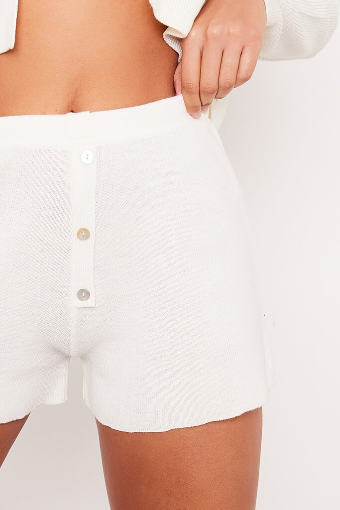 Cream Fine Knitted Shorts With Button Detail view 5