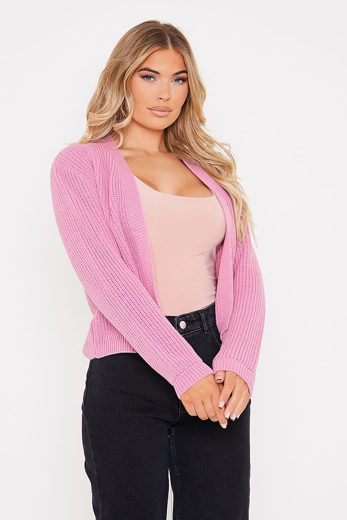 Dusky Pink Cropped Open Front Cardigan view main view