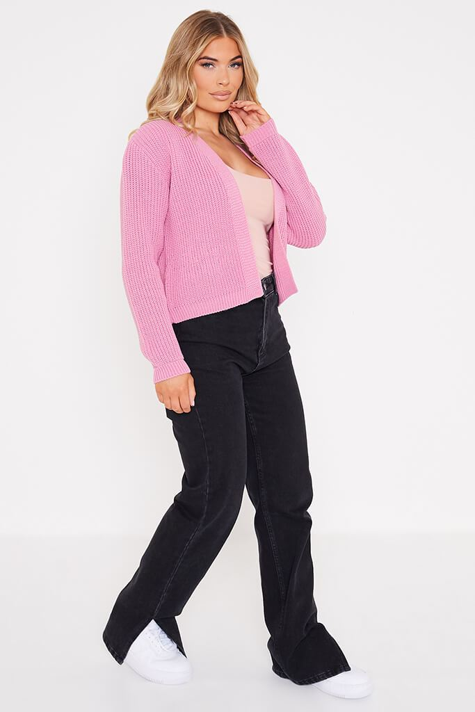 Dusky Pink Cropped Open Front Cardigan view 3