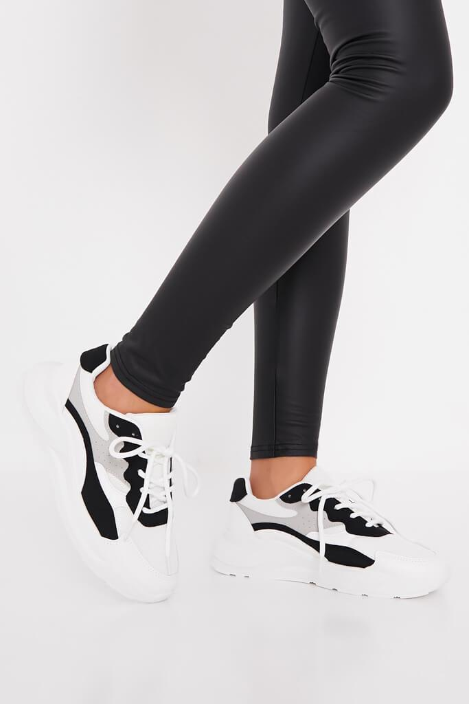 Black Colour Block Detail Chunky Trainer