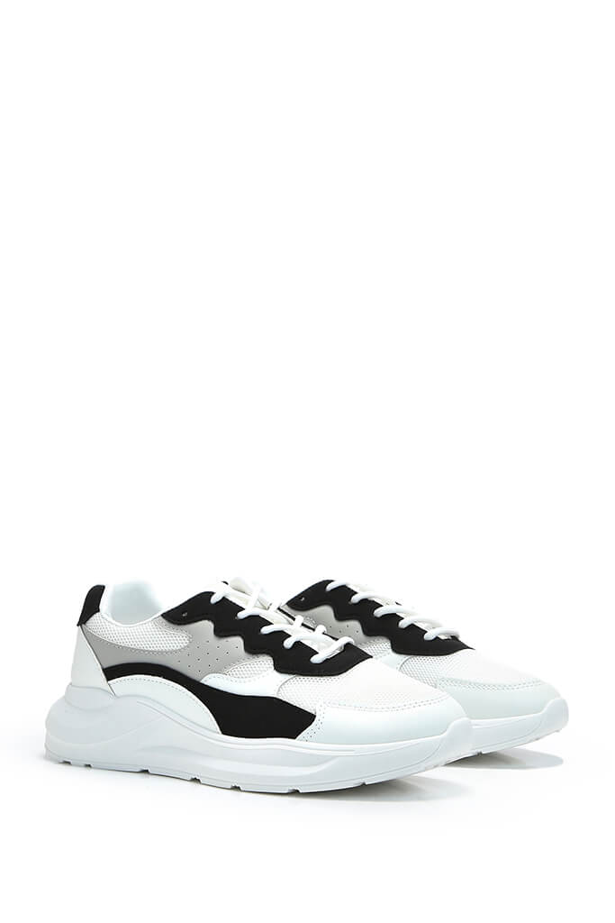Black Colour Block Detail Chunky Trainer view 4