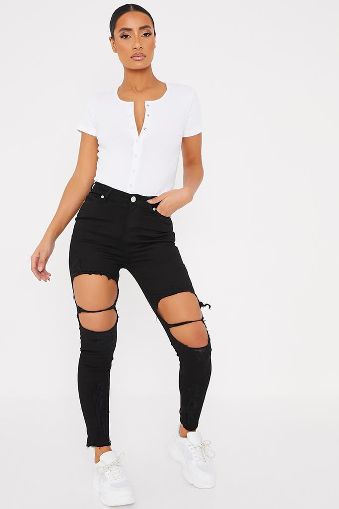 Black Frayed Hem Ripped Skinny Jeans