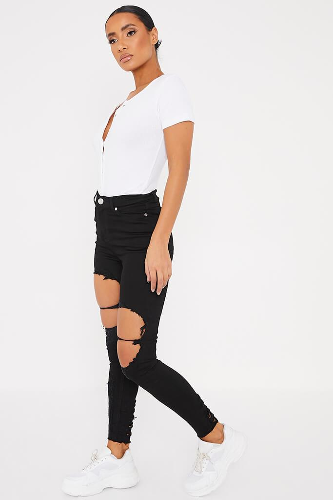 Black Frayed Hem Ripped Skinny Jeans view 3