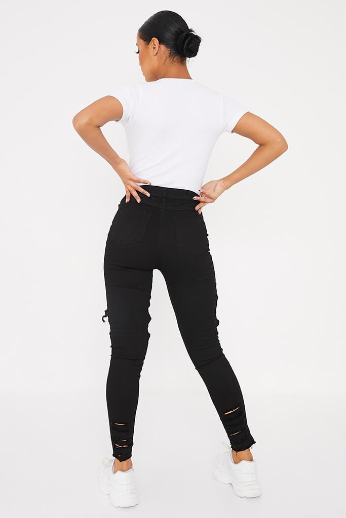 Black Frayed Hem Ripped Skinny Jeans view 4