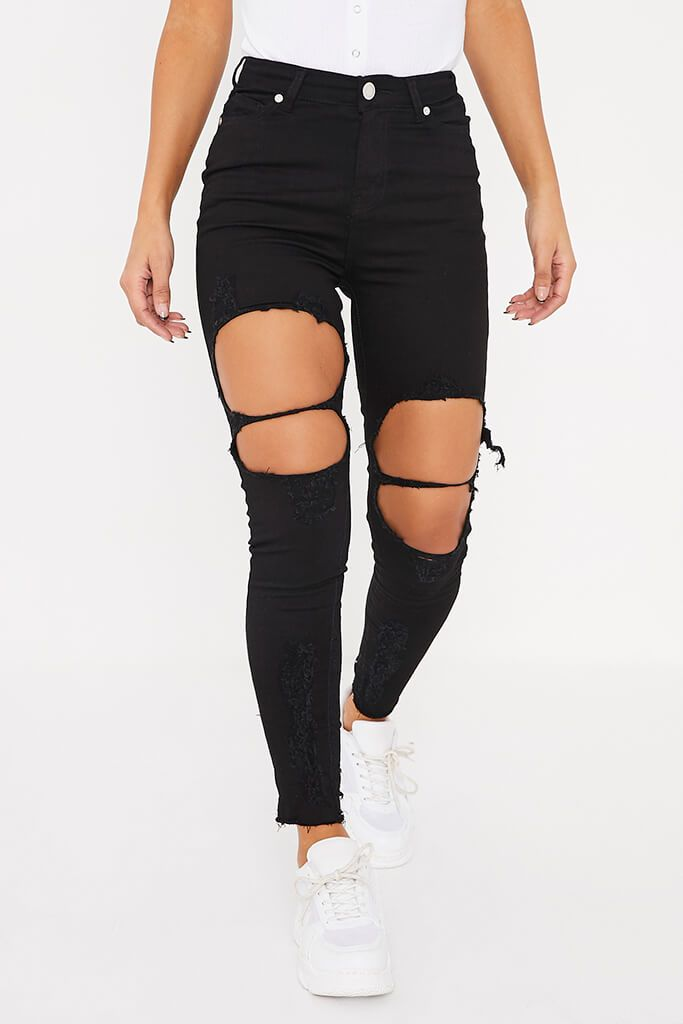 Black Frayed Hem Ripped Skinny Jeans view 2