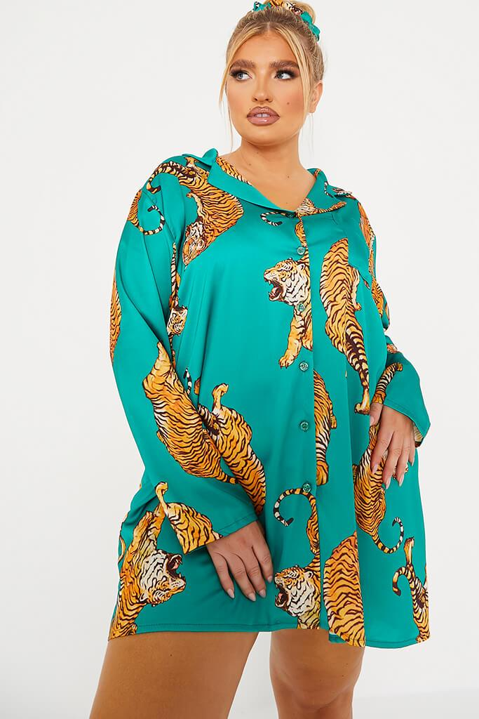 Emerald Green Plus Size Tiger Print Satin Pyjama Shirt Dress