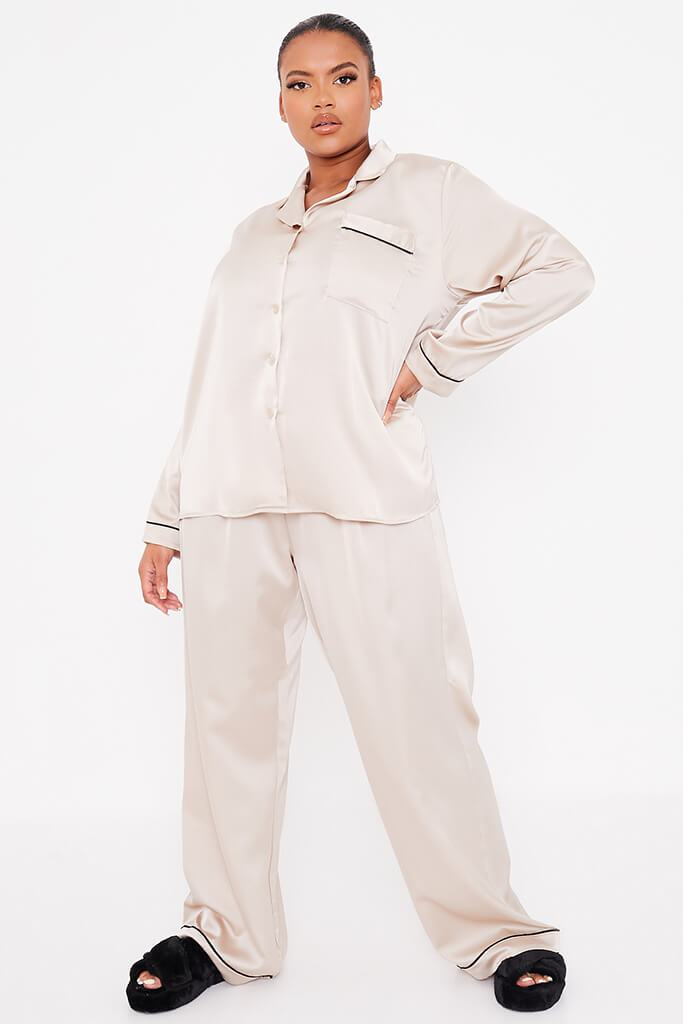 Champagne Plus Size Long Sleeve Satin Pyjama Set With Contrast Piping