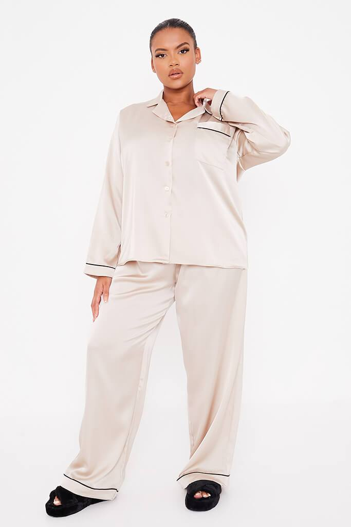 Champagne Plus Size Long Sleeve Satin Pyjama Set With Contrast Piping view 2