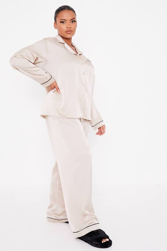 Champagne Plus Size Long Sleeve Satin Pyjama Set With Contrast Piping view 3