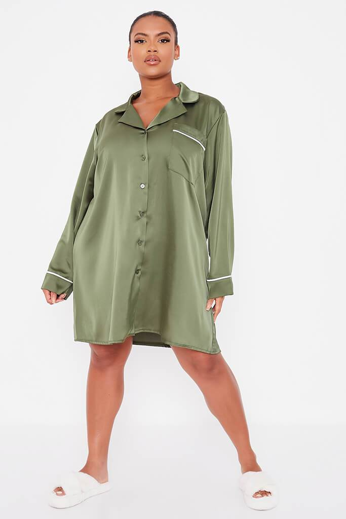 Olive Green Plus Size Satin Pyjama Shirt Dress With Contrast Piping view 2