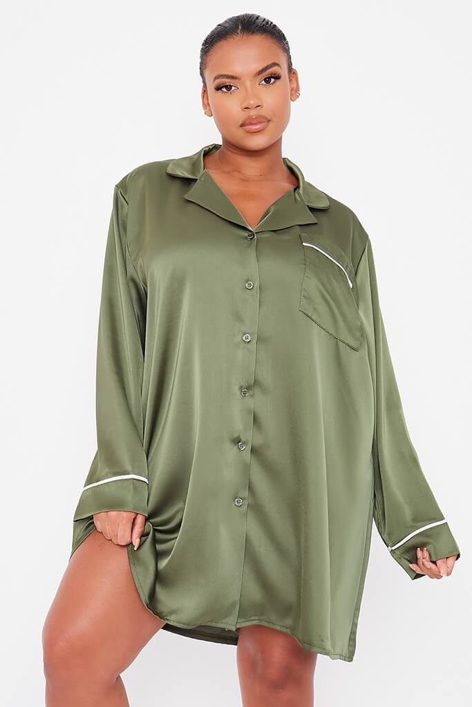 Olive Green Plus Size Satin Pyjama Shirt Dress With Contrast Piping