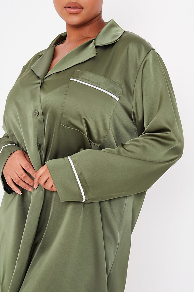 Olive Green Plus Size Satin Pyjama Shirt Dress With Contrast Piping view 5
