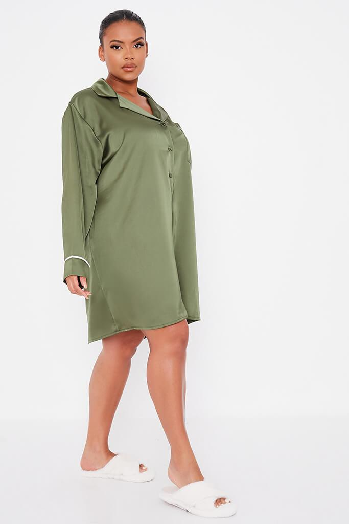 Olive Green Plus Size Satin Pyjama Shirt Dress With Contrast Piping view 3